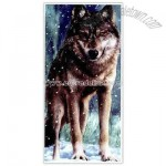 Snow Wolf Fiber Reactive Beach Towel