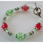 Snowflake Red and Green Lampwork and Swarovski Beaded Bracelet