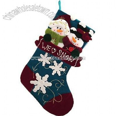 Snowman Couple Blue Stocking