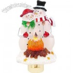 Snowman Couple By Campfire Night Light