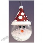 Snowman With Red Hat Glass Ornament