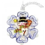 Snowman With Snowflake Glass Ornament