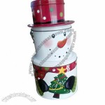 Snowman shape tin box for cookie