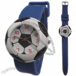 Soccer Design Silicone Watch with Alloy Case and Silicone Band