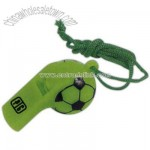 Soccer ball design whistle with rope