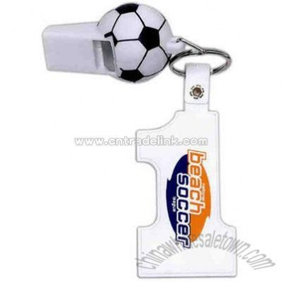 Soccer whistle with number one key tag