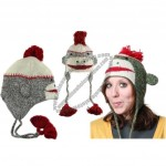 Sock Monkey Face Wool Pilot Animal Cap/Hat with Ear Flaps and Poms
