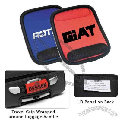 Soft cushion luggage wrap travel grip with ID panel on back