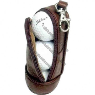 Soft leather three-ball pouch with a metal hook
