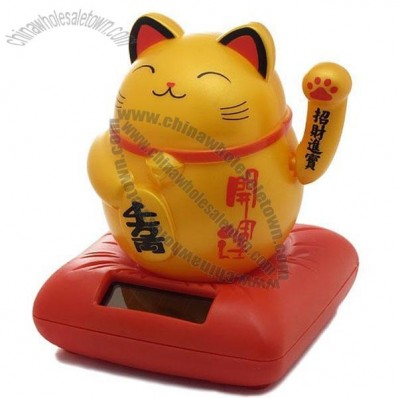 Solar Bobblehead Toy Figure, Orange Waving Engimono Cat