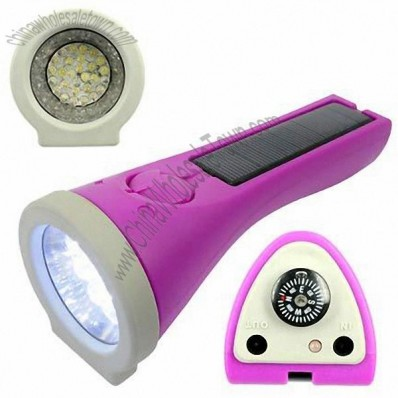Solar Flashlight For Mobile phones MP3 Players With Solar Charger Compass