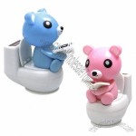 Solar Power Motion Toy - Bear on Toilet