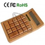 Solar Powered Bamboo Calculator with 12 Digits LCD Display