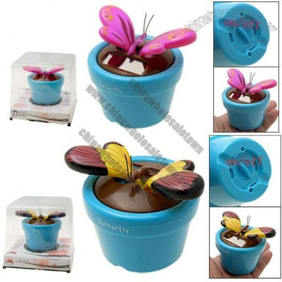 Solar Powered Flip Flap Butterfly Ornament Toy with Pot