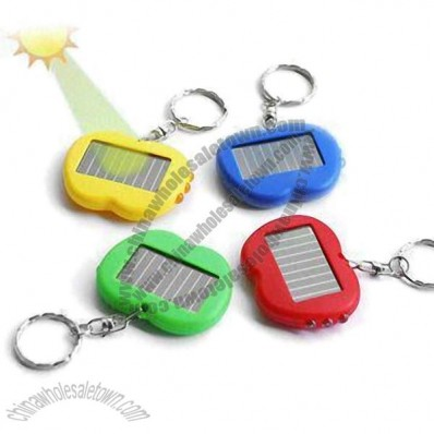Solar Powered Keychain with LED Flashlight