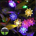 Solar String Lights Fairy RGB 80 Led Lotus Flower Outdoor Light Powered by double panels