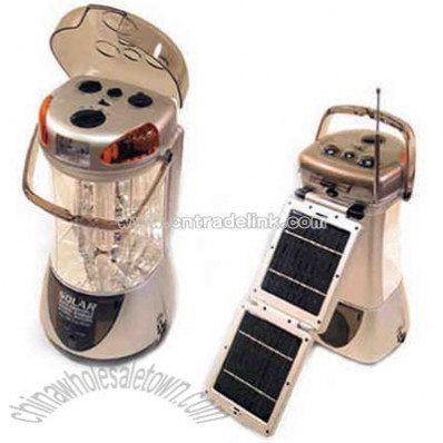 Solar rechargeable lantern with AM/FM radio