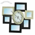 Solid Wooden Mirror Frame with Clock