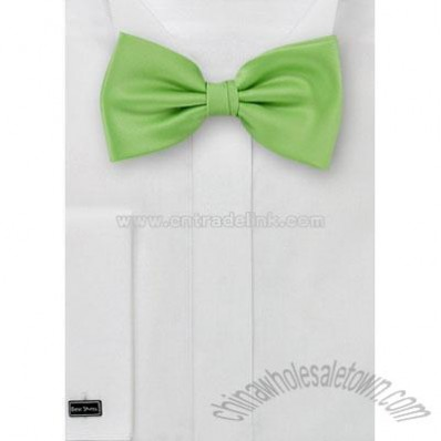 Solid apple green mens bow tie