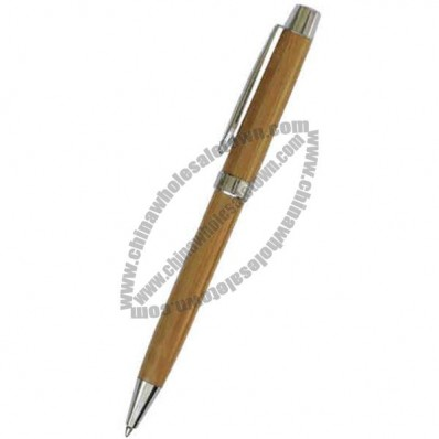 Solid bamboo barrel twist action ballpoint pen