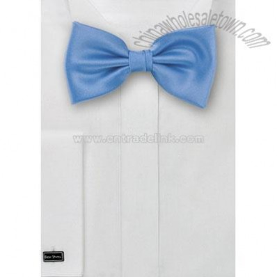 Solid color sky blue bow tie