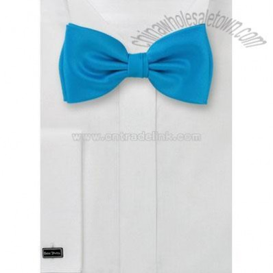 Solid color turquoise blue Bow tie