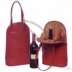 Solle Two-Bottle Wine Carrier - Red Croco Print Leather