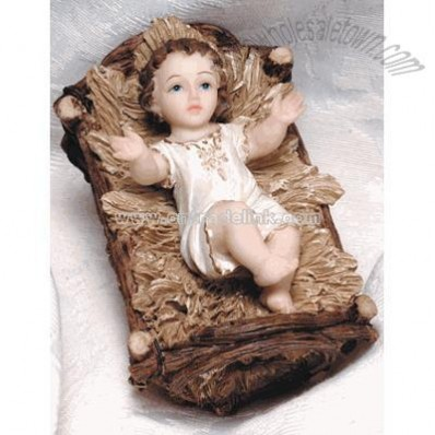 Spanish Infant With Resin Crib Florentine Statue (4 inch)