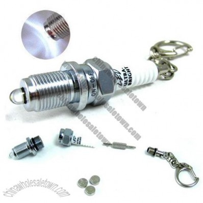 Spark Plug LED Flashlight Keychain Torch Keyring with ScrewDriver