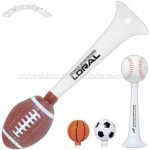 Sport horn with soccer ball shaped squeezer