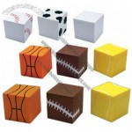 Sports Cube Stress Reliever With Ball Theme Pattern