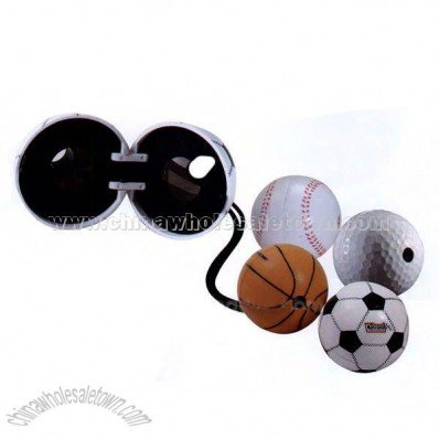 Sports ball shaped folding binoculars