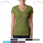 Sporty V-Neck Customized Logo T-Shirt for Women's