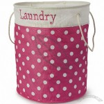 Spots Pink / White Round Collapsible Laundry Hamper