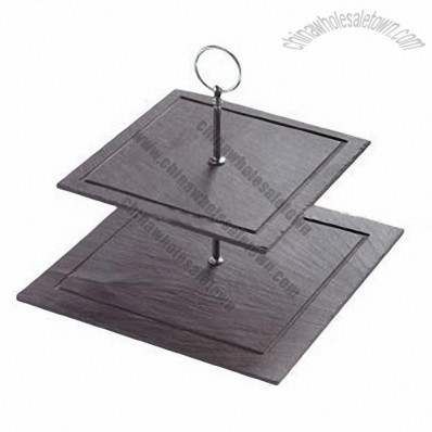 Square Three Tiers Slate Cake Stand