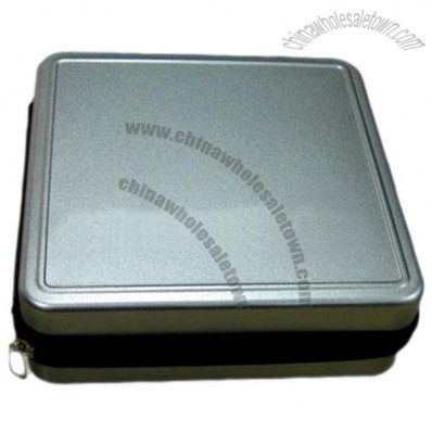 Square Tin with Zipper for CD/DVD
