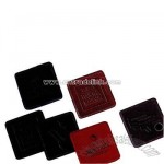 Square business leather coaster with stitched and burnished edges