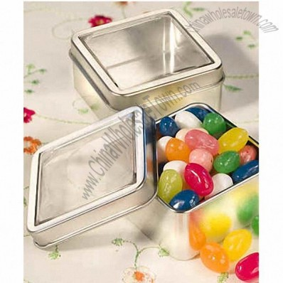 Square silver candy tin holders