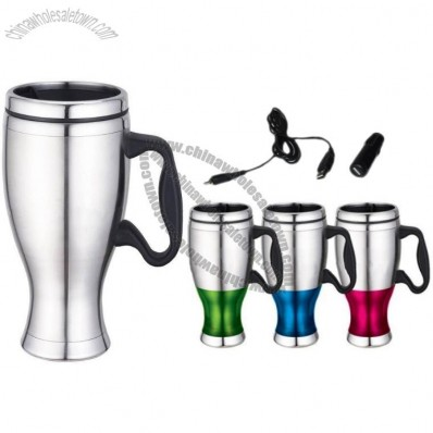 Stainless Steel 16oz/450ML USB Travel Cup Auto Mug