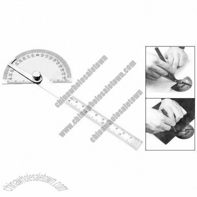 Stainless Steel Adjustable 180 Degree & 10cm Ruler Protractors