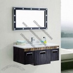 Stainless Steel Bathroom Cabinet with Ceramic Basin and Mirror