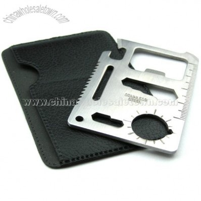 Stainless Steel Classic 11-Tools-in-1 - Credit Card Sized Survival Tool for Pocket