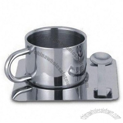 Stainless Steel Coffee Cup Set Includes Saucer and Spoon