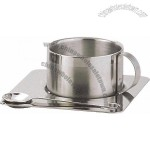 Stainless Steel Coffee Cup Set with Spoon and Plate