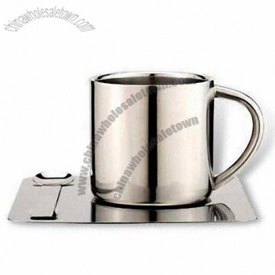 Stainless Steel Coffee Cup and Saucer Set