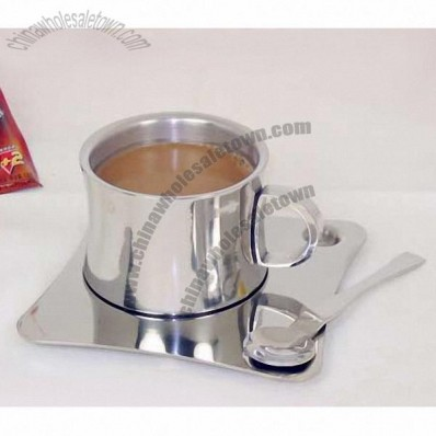 Stainless Steel Coffee Cup with Plate and Spoon