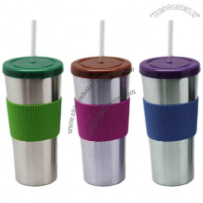 Stainless Steel Coffee Mug with Silicon Skin and Straw
