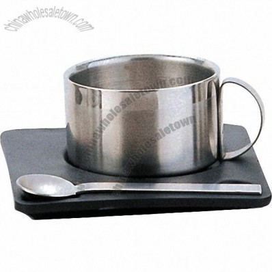 Stainless Steel Coffee Mug with Spoon and Plate Set