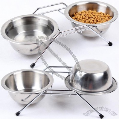 Stainless Steel Double Pet Bowl with Rack