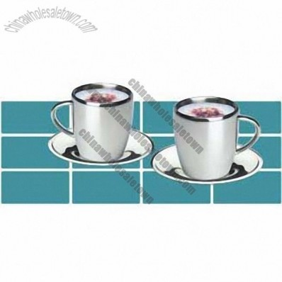 Stainless Steel Double Wall Coffee Mug With Saucer
